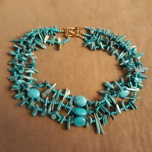 Vtg SW REAL Turquoise Nugget 3 Strand Necklace